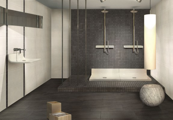 Spot bianco 32,5x65 / Forest black mosaico 30x30 / Floor: Forest black 30x60